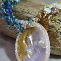 Close up of Sea Necklace by Amanda Crago of Bowerbird Jewellery