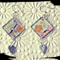 Japanese Washi Print Earrings with Silver Leaf Dangle by Amanda Crago of Bowerbird Jewellery