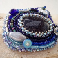 Blue Goldstone bead embroidered Brooch