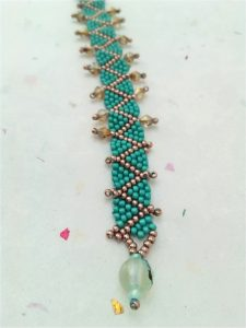 aqua and copper peyote stitch bracelet