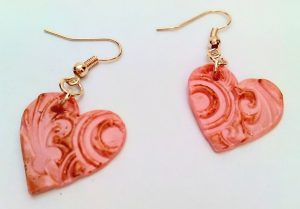 Shrink plastic jewellery workshop heart earrings