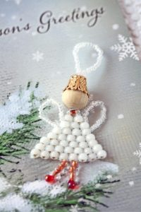 white beaded angel decoration