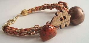 Kumihimio, Japanese braided cord featuring Autumn inspired beads like leaves and apples