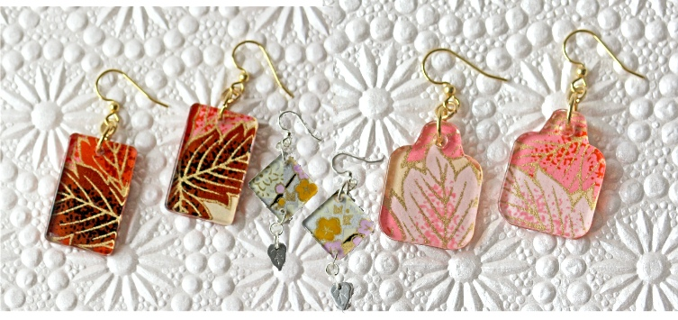 Washi paper earrings